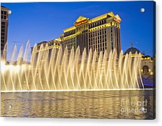 Fountains Of Bellagio In Front Of Caesar's Palace Hotel And Casi Acrylic Print by Andre Babiak