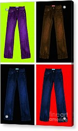 Four Pairs Of Blue Jeans - Painterly Acrylic Print by Wingsdomain Art and Photography