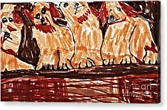 Four Puppies In A Row Acrylic Print by Stephanie Ward