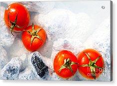 Four Red Tomatos  Acrylic Print by Agusta Gudrun Olafsdottir