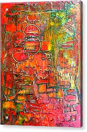 Acrylic Print featuring the painting Four Suns by Mary Kay Holladay