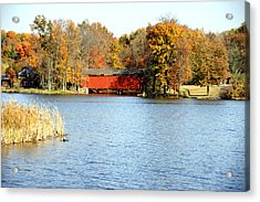 Fowler Lake And Covered Bridge Acrylic Print by Franklin Conour