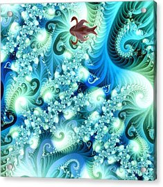 Fractal And Swan Acrylic Print by Odon Czintos