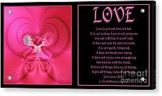 Fractal Love 1 Corinthians 13 Acrylic Print by Rose Santuci-Sofranko