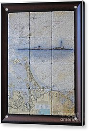 Framed Nautical Chart Of Hingham And Hull With Boston Light  Acrylic Print