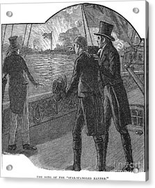 Francis Scott Key (1779-1843). American Lawyer And Poet. Witnessing The Bombardment Of Fort Mchenry, September 13-14, 1814: Wood Engraving, American, 1885 Acrylic Print by Granger