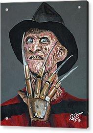 Freddy Kruger Acrylic Print by Tom Carlton