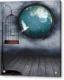 Free As A Bird Acrylic Print by Marie  Gale