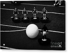 Free Kick Wall Of Players Football Soccer Scene Reinacted With Subbuteo Table Top Football  Acrylic Print by Joe Fox