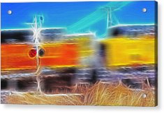 Freight Train At Railroad Crossing 2 Acrylic Print by Steve Ohlsen