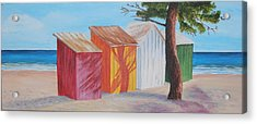 French Beach Huts Acrylic Print by Siobhan Lawson