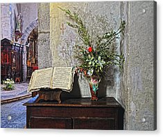 Acrylic Print featuring the photograph French Church Decorations by Dave Mills