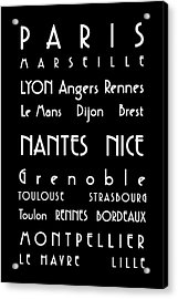 French Cities - Bus Roll Style Acrylic Print by Georgia Fowler