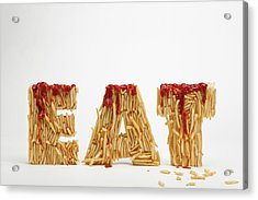 French Fries Molded To Make The Word Fat Acrylic Print