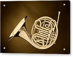 French Horn In Antique Sepia Acrylic Print