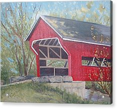 French Lick Covered Bridge Acrylic Print by Julie Cranfill