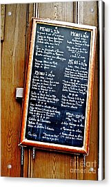 French Menu Acrylic Print