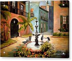 French Quarter Fountain Acrylic Print by Gretchen Allen