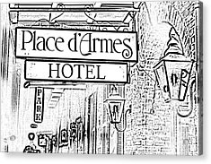 French Quarter Place Darmes Hotel Sign And Gas Lamps New Orleans Photocopy Digital Art Acrylic Print by Shawn O'Brien