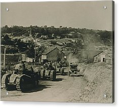 French Tanks Passing Through Rampont Acrylic Print by Everett