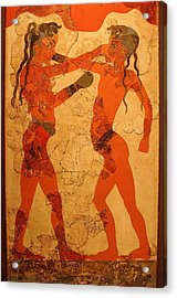Fresco Of Boxing Children Acrylic Print
