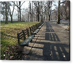 Acrylic Print featuring the photograph Fresco Park Benches by Sarah McKoy