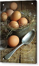Fresh Brown Eggs In Old Tin Container With Spoon  Acrylic Print by Sandra Cunningham