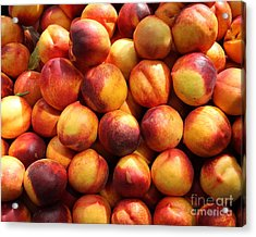 Fresh Nectarines - 5d17815 Acrylic Print by Wingsdomain Art and Photography