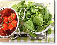 Fresh Spinach Leaves With Tomatoes  Acrylic Print