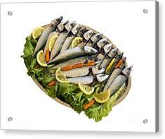 Fresh Uncoocked Fish Acrylic Print by Soultana Koleska