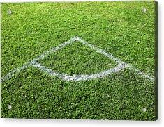 Freshly Painted Corner Area On Grass Acrylic Print by Richard Newstead