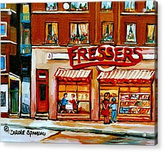 Fressers Deli Decarie Boulevard Montreal City Scenes Acrylic Print by Carole Spandau