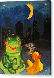 Frog And Duck Go To The Bog City By Way Of The Lake Acrylic Print