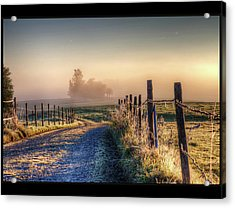 Frosty Fence Acrylic Print by LASER Lovelyness Amplificated Saturated Editing of Radiance