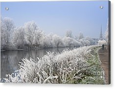 Frosty Morning Landscape Acrylic Print by Andrew  Michael