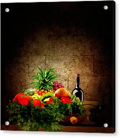 Fruit And Wine Acrylic Print by Lourry Legarde