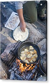 Frying Walleye Fish Fillets Acrylic Print by Skip Brown