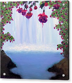 Acrylic Print featuring the painting Fuchsia Falls by Janet Greer Sammons