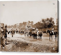 Fugitive African Americans Fording Acrylic Print by Everett