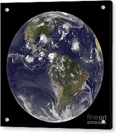 Full Earth Showing Tropical Storms Acrylic Print by Stocktrek Images