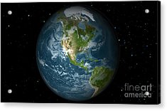 Full Earth View Showing North America Acrylic Print by Stocktrek Images