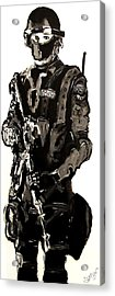 Full Length Figure Portrait Of Swat Team Leader Alpha Chicago Police In Full Uniform With War Gun Acrylic Print by M Zimmerman MendyZ