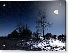 Full Moon And Farm Acrylic Print
