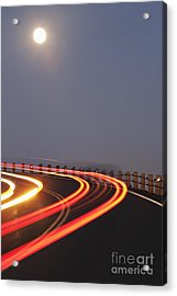 Full Moon Over A Curving Road Acrylic Print