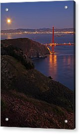 Full Moon Over Golden Gate Bridge Acrylic Print by Photo by Mike Shaw