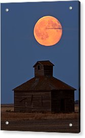 Full Moon Over Old Saskatchewan Barn Acrylic Print