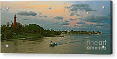 Acrylic Print featuring the photograph Jupiter Lighthouse Moon Rising by Larry Nieland