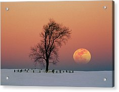 Full Moon Rising Near Graveyard Acrylic Print