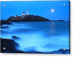 Full Moon Surf Cape Neddick Nubble Lighthouse Acrylic Print by John Burk