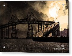 Full Moon Surreal Night At The Bay Area Richmond-san Rafael Bridge - 5d18440 - Sepia Acrylic Print by Wingsdomain Art and Photography
